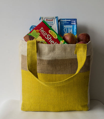 Handmade yellow beige tote bag with color block