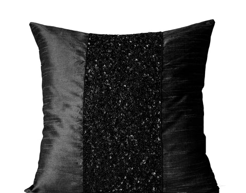 Handmade black silk pillow with metallic sparkles and beads