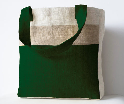 Handmade burlap moss green tote bag with internal pocket