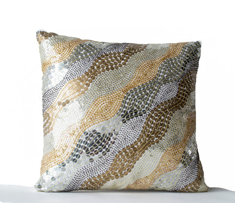 Handmade white silk accent pillow with embroidery and sequin
