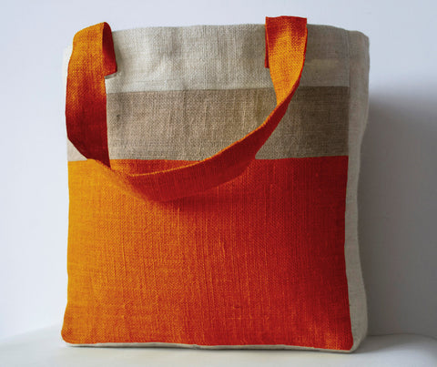 Handmade burlap orange market tote bag with custom monogram