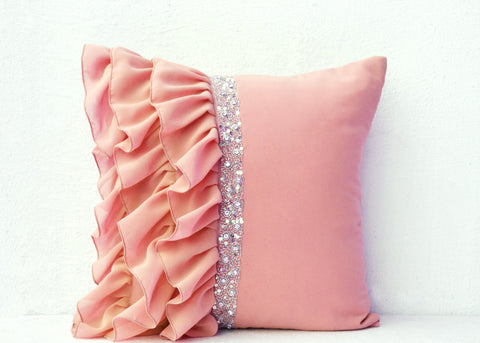Handmade beige pillow with ruffles with crystal on georgette