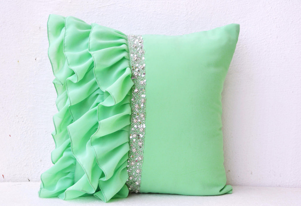 outdoor dp dotted vintage color green collection the bay rina ruffles contemporary pillow one decorative pillows amazon on throw indoor jacquard home cover ac by solid mint side decor great pattern other com
