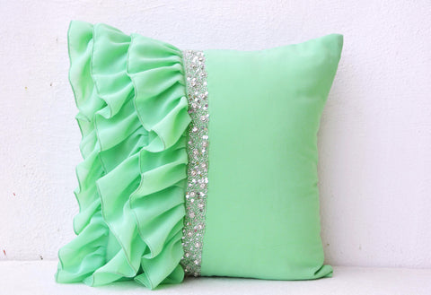 Handmade mint green throw pillow with ruffles and beads