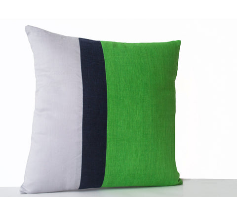 Handmade green throw pillow covers with color block