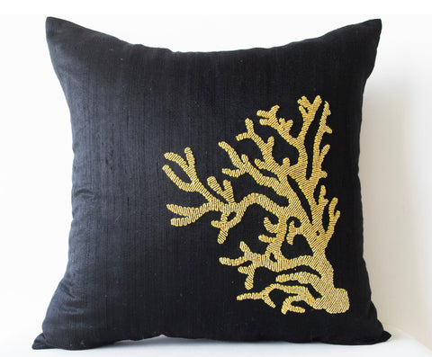 Handmade black silk pillows with gold coral design and beads