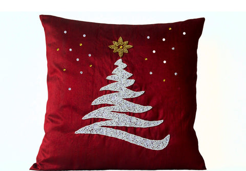 Handmade red silk Christmas decorative pillows