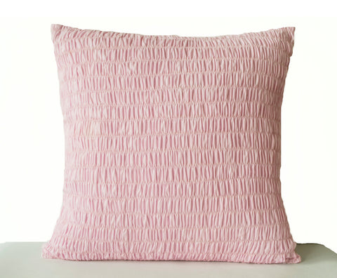 Handmade pink cotton accent throw pillow cover