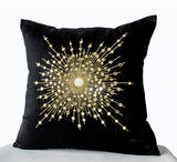Handmade silk gold pillow with mirrors