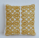Handmade white gold bead throw pillow
