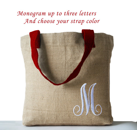 Handmade natural jute tote bag with custom monogram