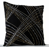 Handmade black throw pillow covers with geometric design