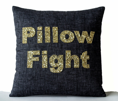Handmade linen gray cushion cover with gold sequin