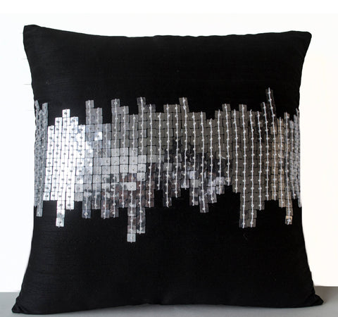 Handmade cushion covers with silver sequin