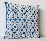 Handmade blue silk throw pillow with white sequin embroidery