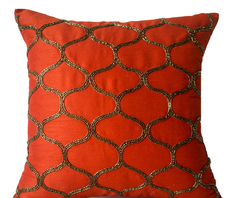 Handmade orange silk pillow cover with sequin