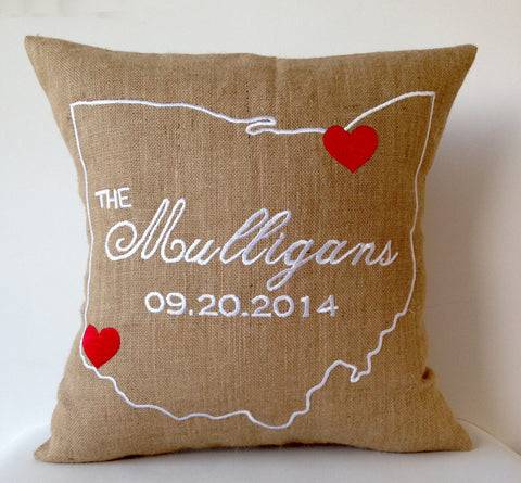Handmade burlap pillow case with state embroidery