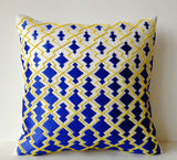 Handmade blue yellow decorative pillow cases with embroidery