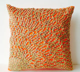 Handmade burlap orange embroidered silk pillows