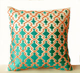 Handmade orange and teal decorative throw pillow cases
