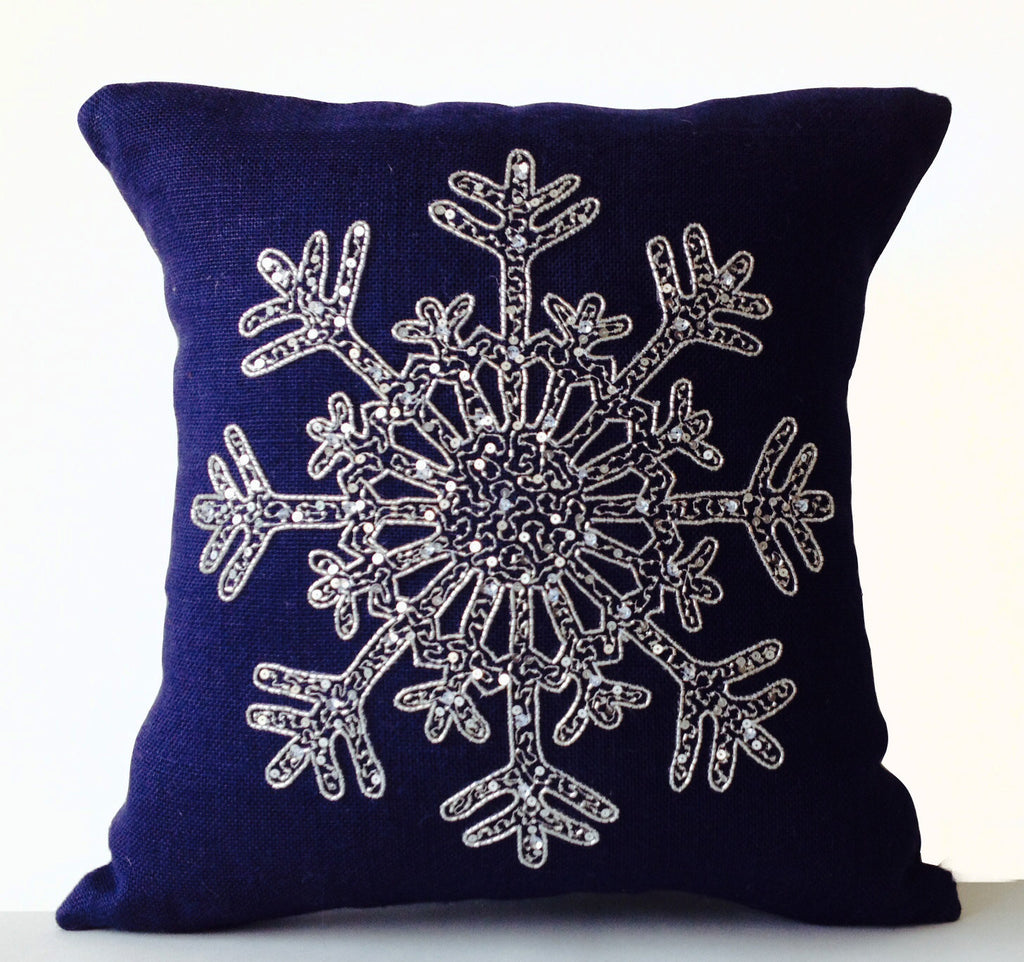 Buy Handmade Navy Blue Cushion Cover With Silver Beaded Snowflake Amore Beaute