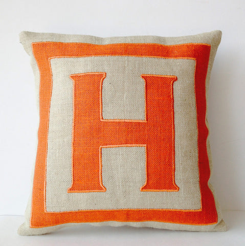 Handmade burlap orange cushion cover with monogram