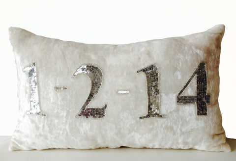 Handmade personalized ivory velvet pillow with silver sequin