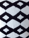 Handmade black and white pillow covers with ikat embroidery