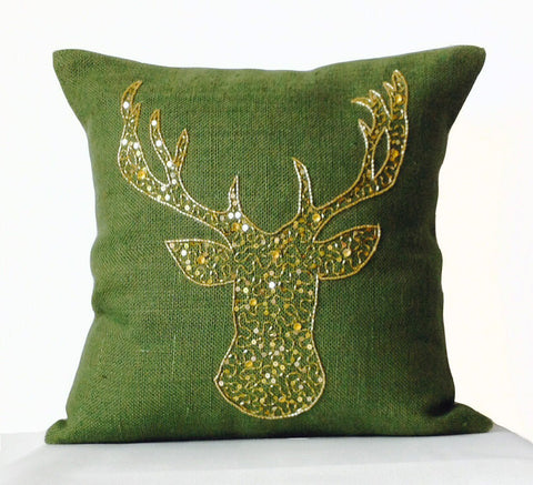 Handmade animal design pillow cover with gold sequin