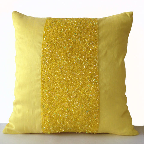 Handmade yellow silk pillow covers with embroidery and beads