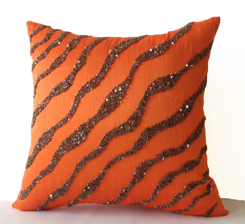 Handmade orange brown throw pillows in silk sequin and beads