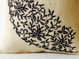 Handmade burlap ivory throw pillows with embroidery