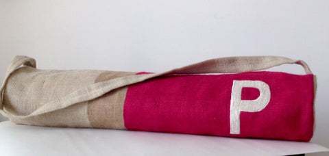 Handmade burlap fuchsia beige yoga mat bag with color block
