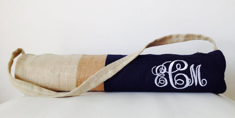 Handmade burlap navy blue yoga mat bag with color block