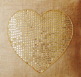 Handmade gold burlap pillow covers