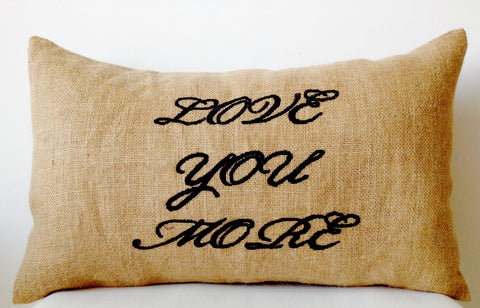 Handmade burlap Decorative throw pillows with embroidery