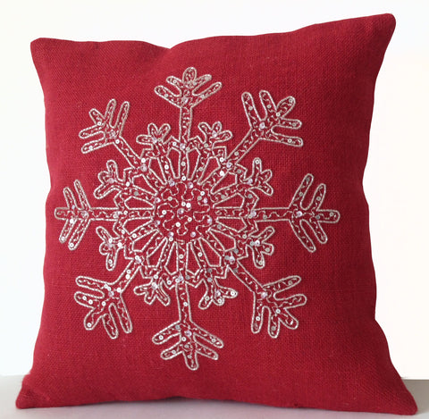 Handmade red burlap Christmas throw pillows