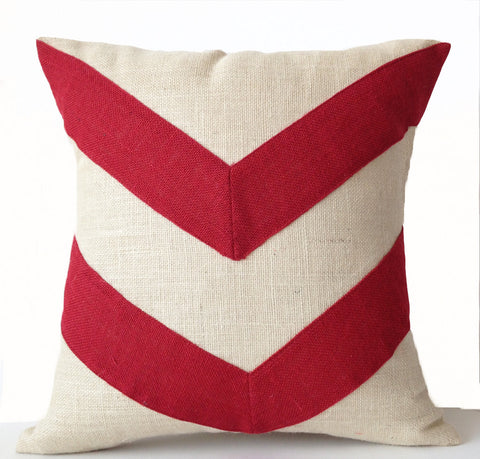 Handmade burlap pillow cover with red white flowerr