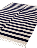Handwoven navy ivory cotton striped rug