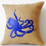 Handmade blue throw pillow with embroidered octopus design