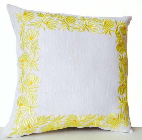 Handmade throw pillow case in white linen and flower embroidery