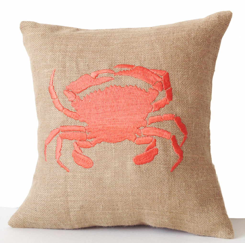 Shop online for handmade burlap sea throw pillow with embroidery ...