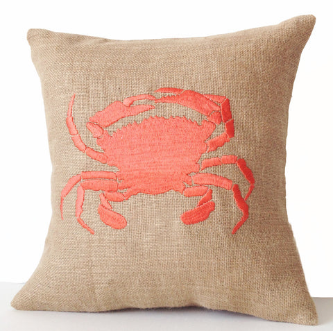 Handmade sea pillow cover with embroidered crab design