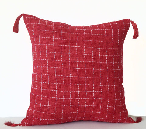 Handmade burlap red embroidered pillow cover with tassels