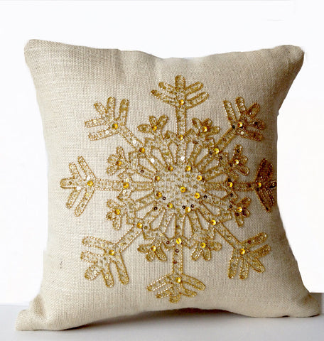 Handmade burlap pillow cover with gold snowflake