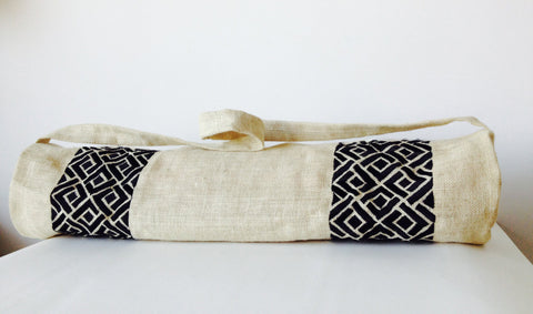 Handmade ivory burlap black yoga bag with hand embroidery