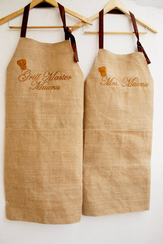 Personalized Burlap Kitchen Aprons for Him and Her