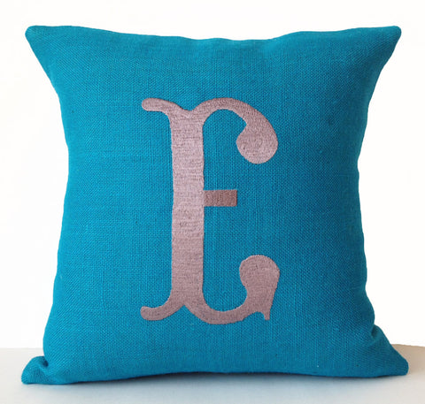 Handmade burlap throw pillows with monogram