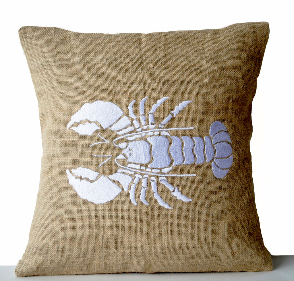 Buy Handmade White Throw Pillow With Lobster Design And Embroidery