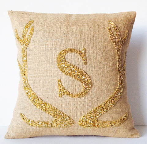 Handmade burlap throw pillows with antlers monogram